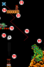 Giant Fly buzzes away, crossing in front of Giant Frog. Giant Frog (32) shoots out tongue, trying to capture Giant Fly, but misses, snagging Hero (33) instead and reeling him in just before Descending Platform (34) releases from Unsecured Guide Chain (35) and plunges into Flaming Chasm. Hero uses Ninja Sword obtained at (17) to cut way out of Giant Frog.