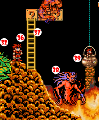 Hero (36), still coated with sticky frog guts, makes easy target trying to escape on Ladder (37). He is snatched up by hungry Fire Elemental (38), who pops him into a Cauldron of Alphabet Soup (39).