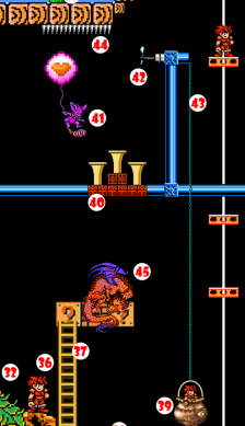 Gremlin's Balloon bumps against Spikes (44) and bursts, dropping Gremlin onto tail of Sleeping Dragon (45) Dragon wakes up hungry just as Cauldron containing delicious-smelling soup and Hero rises past. Dragon tries to grab Cauldron, but clumsily jostles it due to sleep-sand in eyes, upsetting Hero from Cauldron.