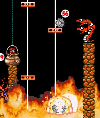 Meanwhile, Hero falls out of Cauldron of Alphabet Soup and lands on uprising platform set into motion by falling Green Marble. Impact of Green Marble on left-hand platforms dislodges Landmine (56), which falls into Flaming Chasm and explodes, startling 3-Headed Snake.