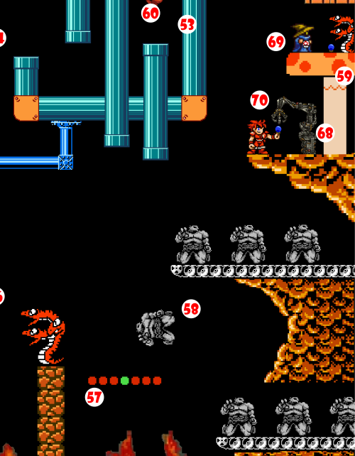 A Coal Elemental (58) drops from a Conveyor Belt at the same moment, and the impact of his greater weight catapults the 3-Headed Snake up and across the Chasm, where he lands on a Giant Mushroom (59).