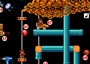 Meanwhile Hero is carried upward by the Elevator Platform, eventually leaping off just before the roof of the Chasm. He lands in a Giant Rollerskate (67), which rolls along the Pipe and pitches him over the edge.