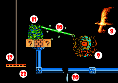 Ill-tempered Beholder shoots Ray of Stupefaction (10) at harmless Quivering Ooze (11). Stunned Ooze falls onto Counterbalanced Platform (12), causing platform to descend.