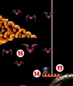 Ascending Platform (13) rises, alarming dozing Luridan (14), who flashes dome light, upsetting Giant Vampire Bats (15).