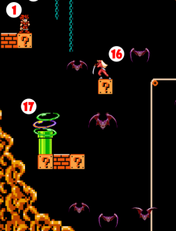 Giant Vampire Bats flutter in confusion around head of Ninja (16), who slashes in wild abandon, accidentally flinging her Sword. Ninja Sword severs the Chain to which Hero still clings by Steel Ring, dropping Hero into magical Teleportation Field (17) emanating from pipe below. Ninja Sword falls into Teleportation Field right after Hero.