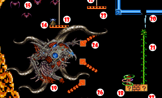 Hero is teleported to Platform (18) near center of Chasm. Cosmic Horror (19), disturbed by fluctuations in spactime continuum caused by Teleportation Field, lashes out with tentacles, breaking Water Pipe (20) and causing water to drip onto beanstalk seeds.