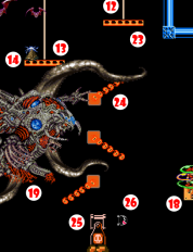 Meanwhile Descending Platform (23), weighted by Quivering Ooze, dislodges Flame Vane #1(24), which swings around, dislodging Flame Vanes #2 and #3. Fire from Flame Vane #3 ignites Bullet Launcher (25), sending Bullet Bill (26) sailing across the Chasm.